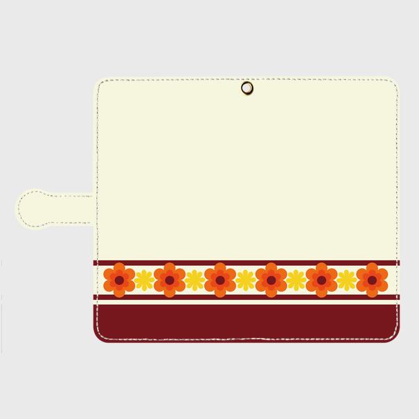 昭和デザイン花(橙・黄) / Androidスマホケース(手帳型ケース)