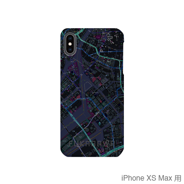 【深川】地図柄iPhoneケース(バックカバータイプ・ブラック)