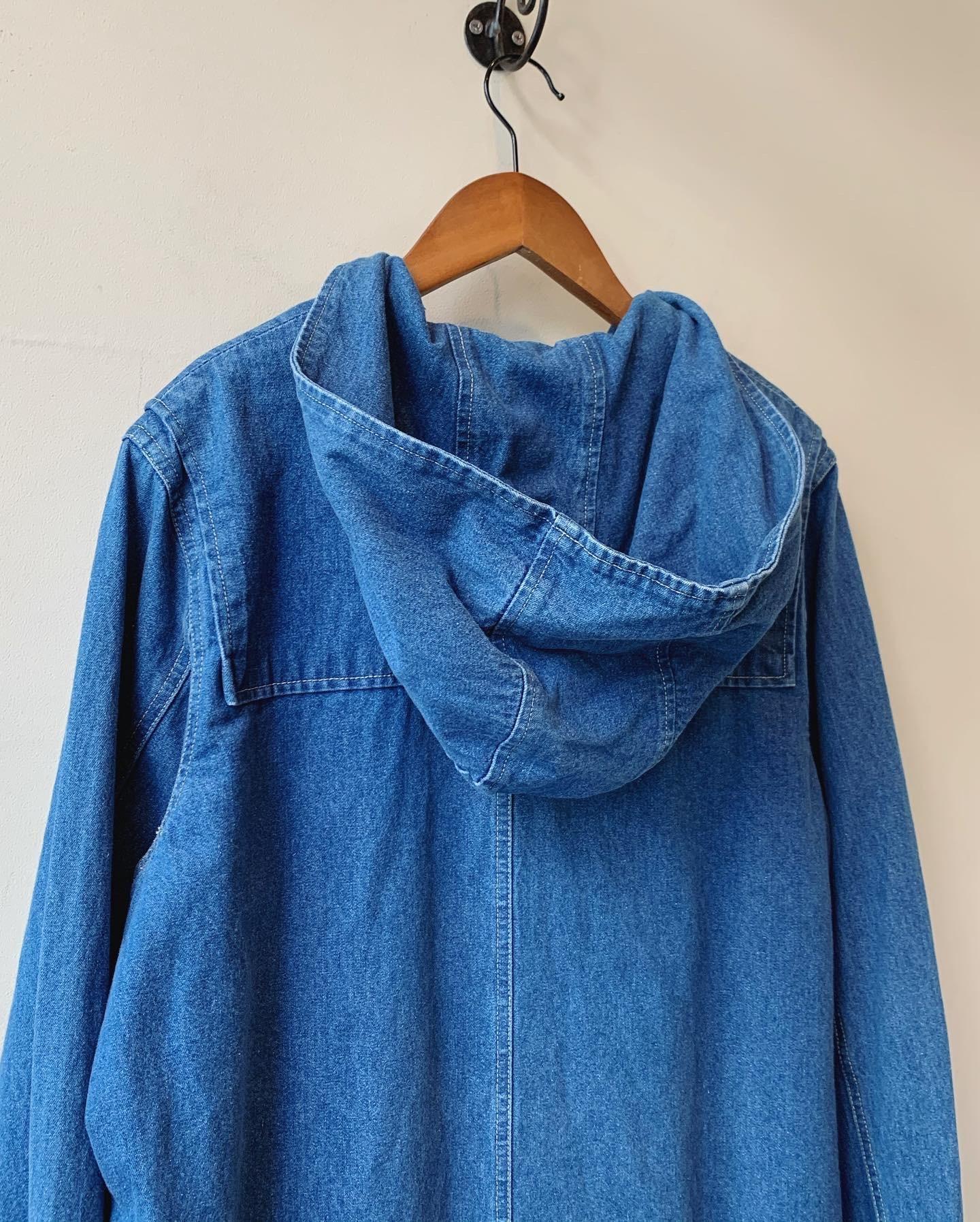 vintage hoodie denim duffle coat