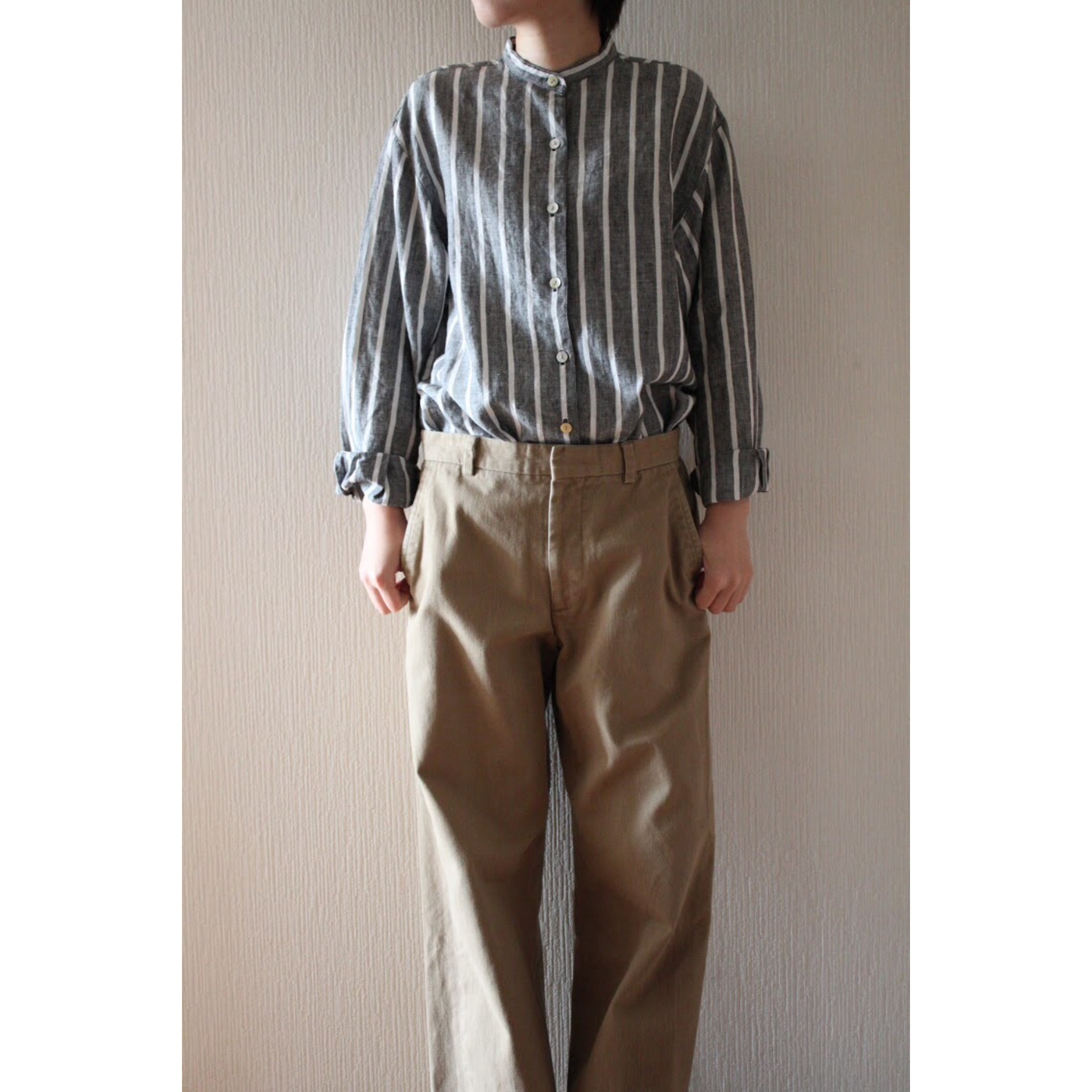 Vintage linen no collar shirt