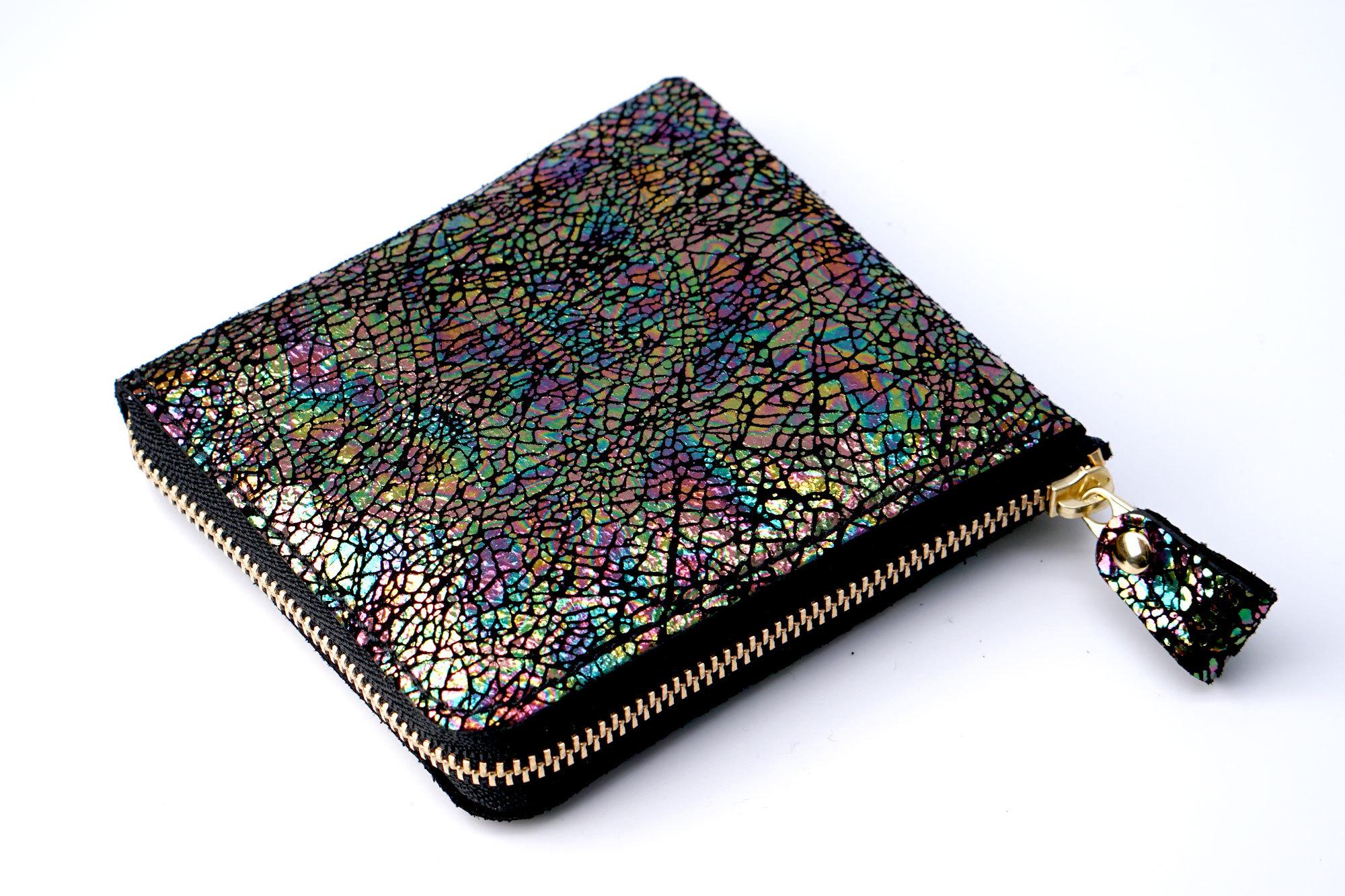 薄型!L字ファスナーミニ財布(ブラック・レインボー箔)
