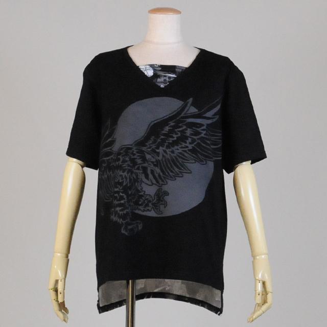 gouk侍 月と鷹プリントVネックTシャツ GGD25-T828 BK/MM