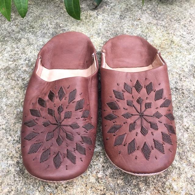 バブーシュ 刺繍-Brown-