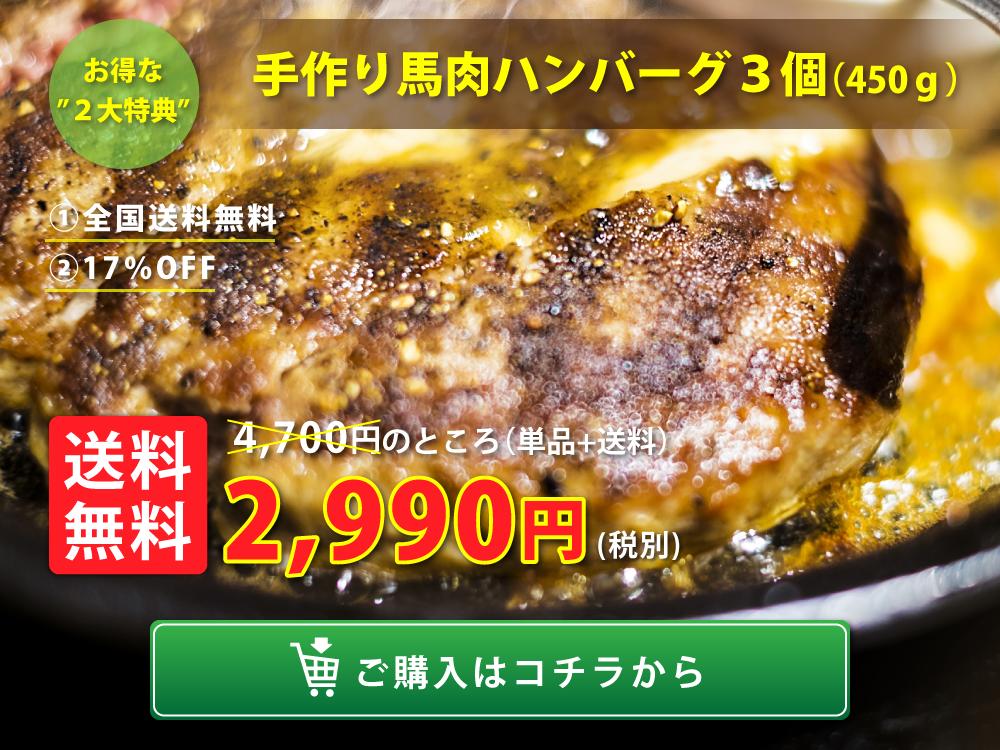 手作り馬肉ハンバーグ(150g)3個セット【全国送料無料】