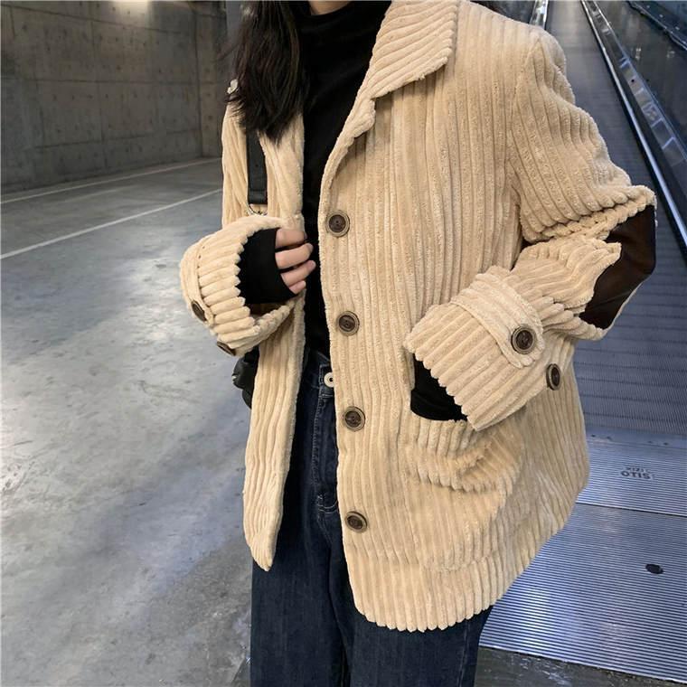 【送料無料】おしゃれな ジャケット ♡ レトロ 大人可愛い コーデュロイ 肘当て 羽織り テーラードジャケット アウター