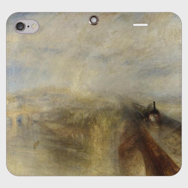 ターナー「雨、蒸気、スピード-グレート・ウェスタン鉄道」 手帳型スマホケース(帯なしタイプ)