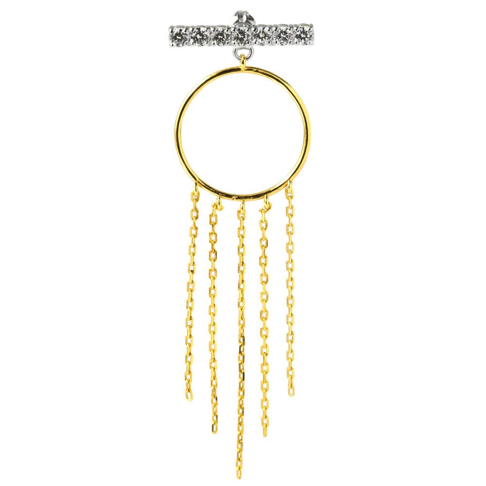 Circle fringe bar earrings サークルフリンジバーピアス(片耳用)ELE0015SG