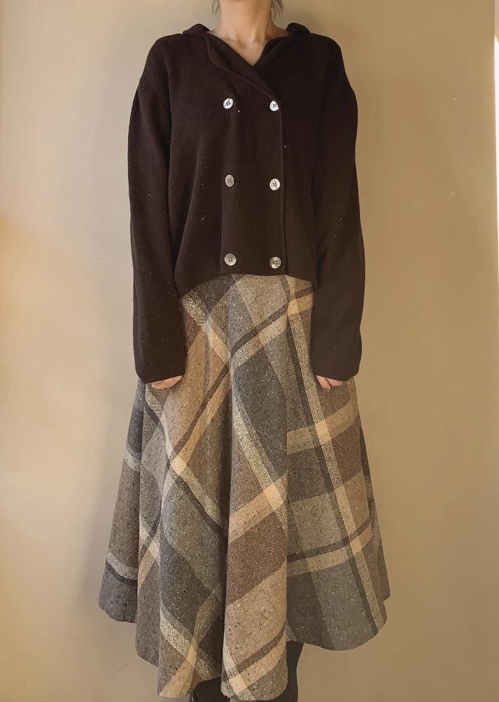 vintage flare check skirt