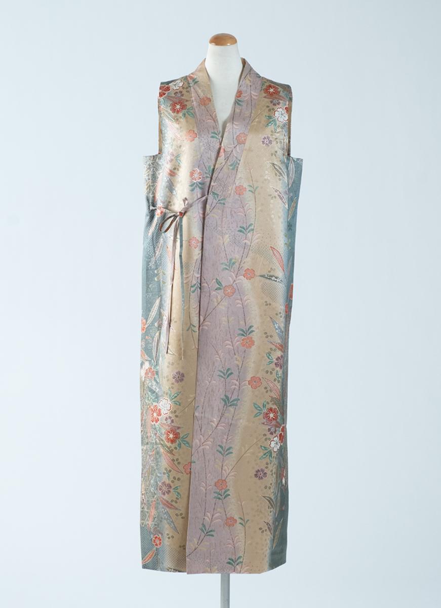 グラデーション模様 スリーブレスドレス 着物 正絹製