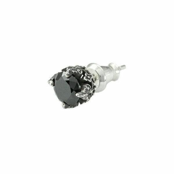 フローラルスタッドBK シルバーピアス 片耳分 AKE0065
