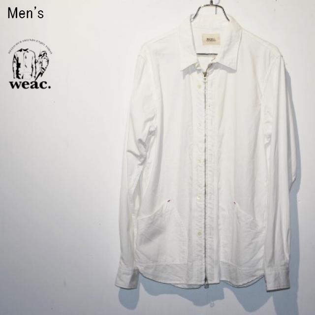 weac. オックスフォードジップシャツ ZIP SHIRTS2 (WHITE)
