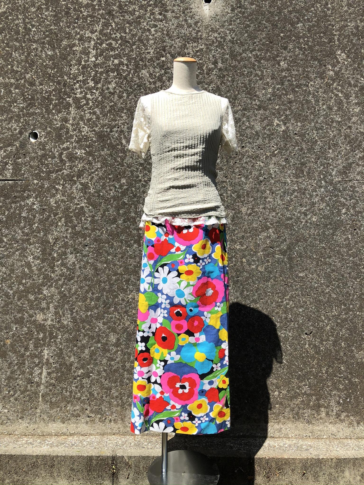 flower printed long skirt
