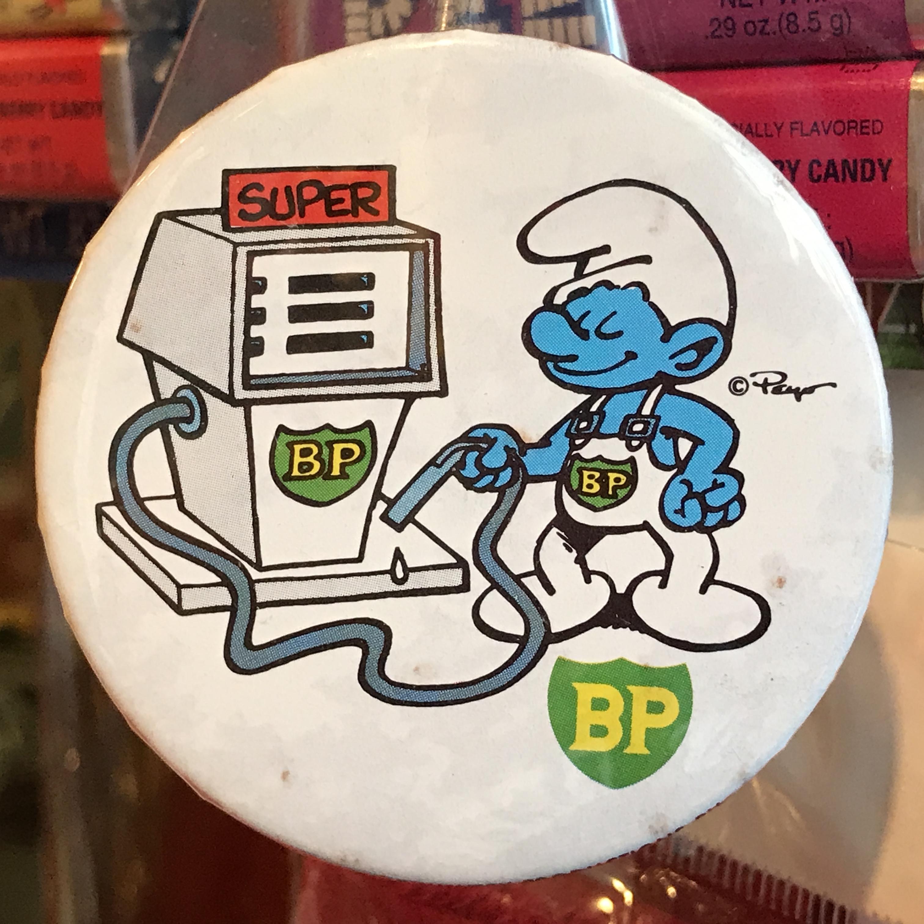 スマーフ 80's BP 企業物 オールド 缶バッジ ガソリンスタンドver.