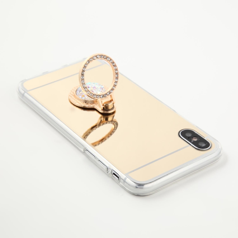 【即納★送料無料】ゴールドミラーソフトケース キラキラシルバーバンカーリング iPhoneケース