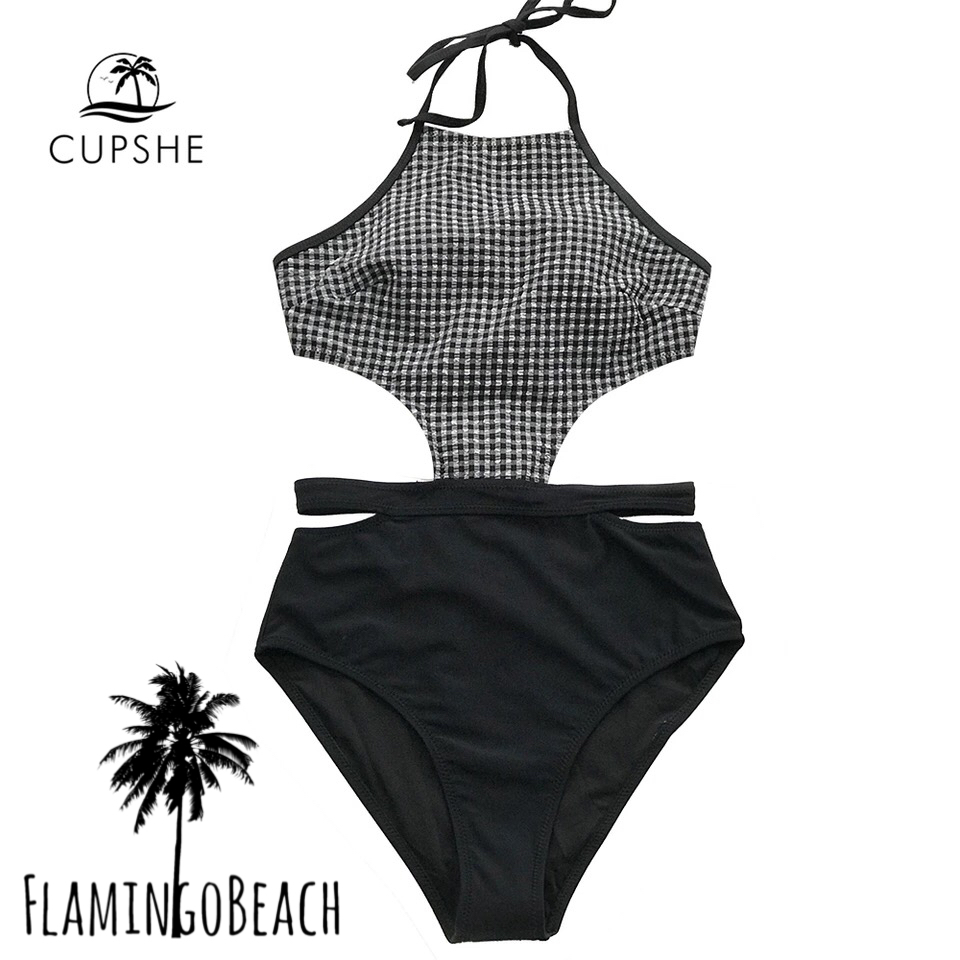 【FlamingoBeach】check cut monokini モノキニ