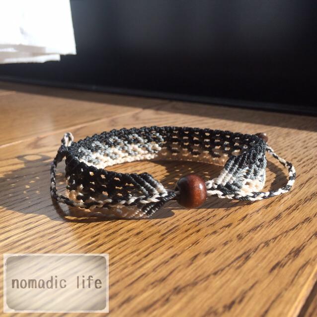 No.32//gradation bracelet_black/グラデーションマクラメブレスレット