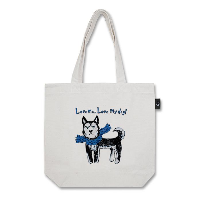 ハスキー犬 トートバッグ (M:内ポケット付き)品番:chi-m-01