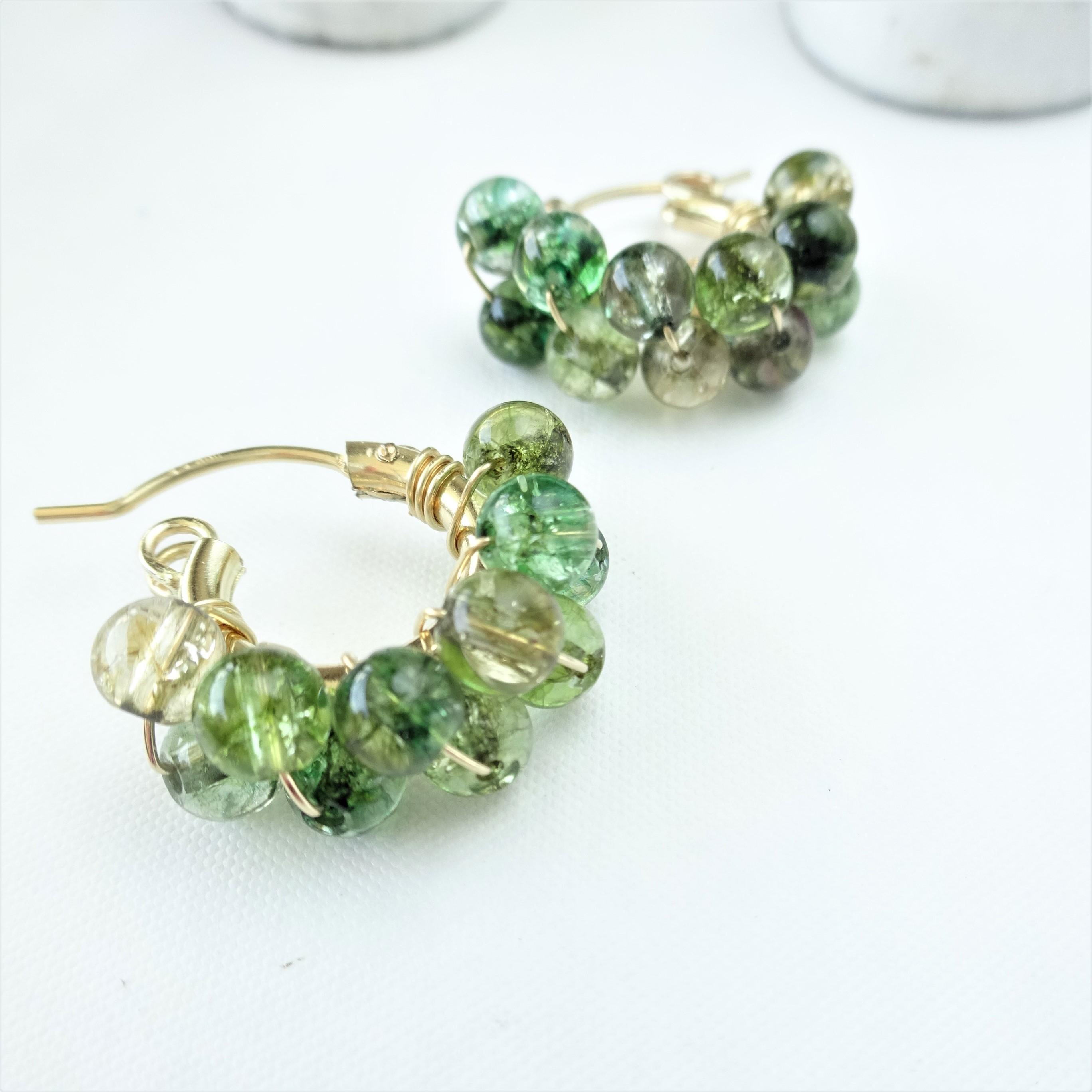 14kgf♡Spring Jerry multicolored quartz pierce/earring GR