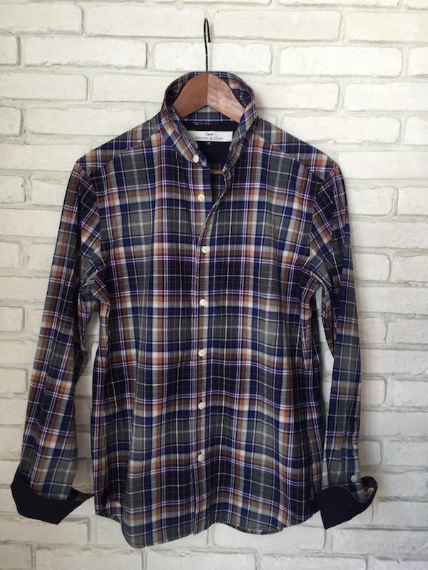 INDIGOブロードチェックシャツ<メンズ>CF1515-25:BLUE