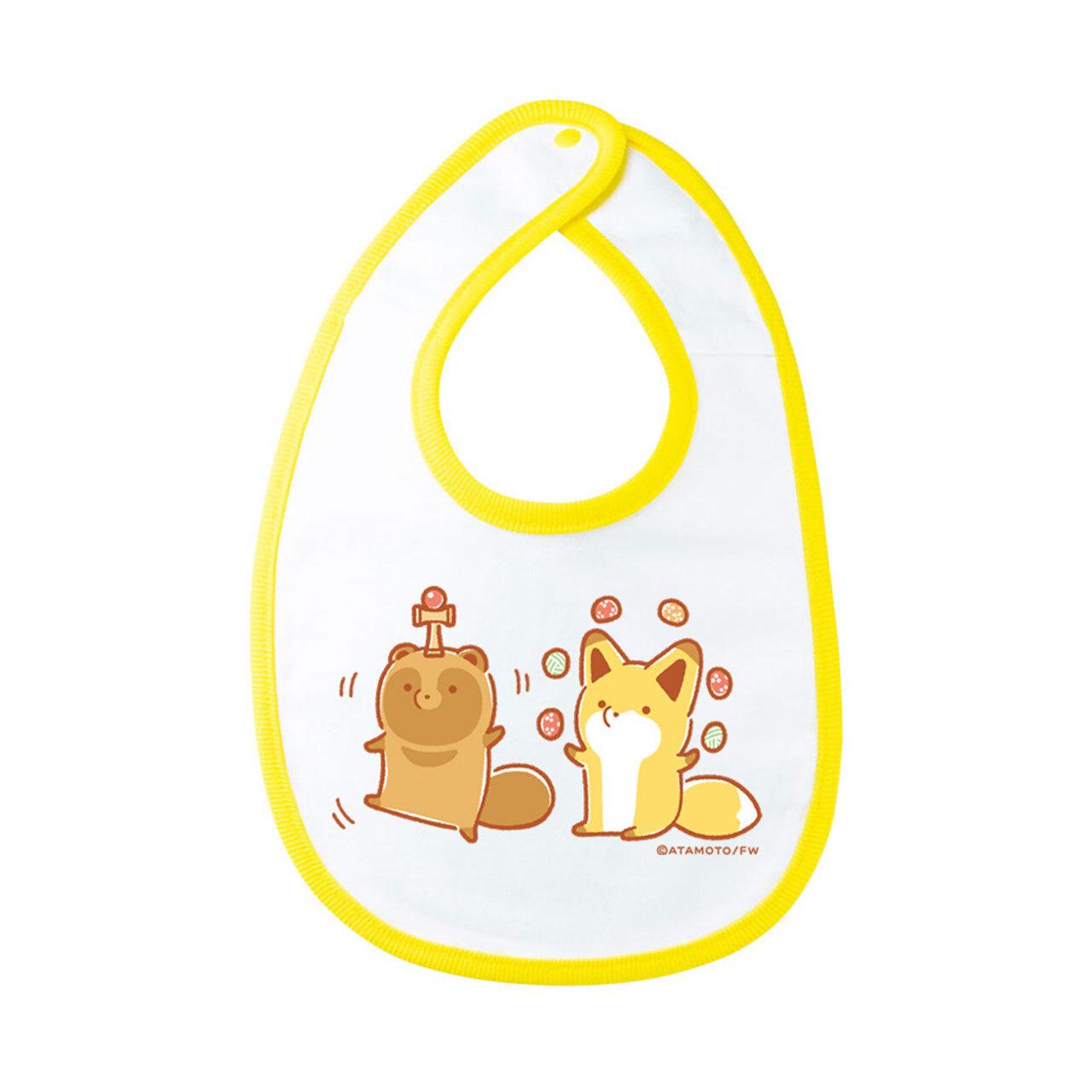 【4589839352895再】タヌキとキツネ よだれかけ(黄色)