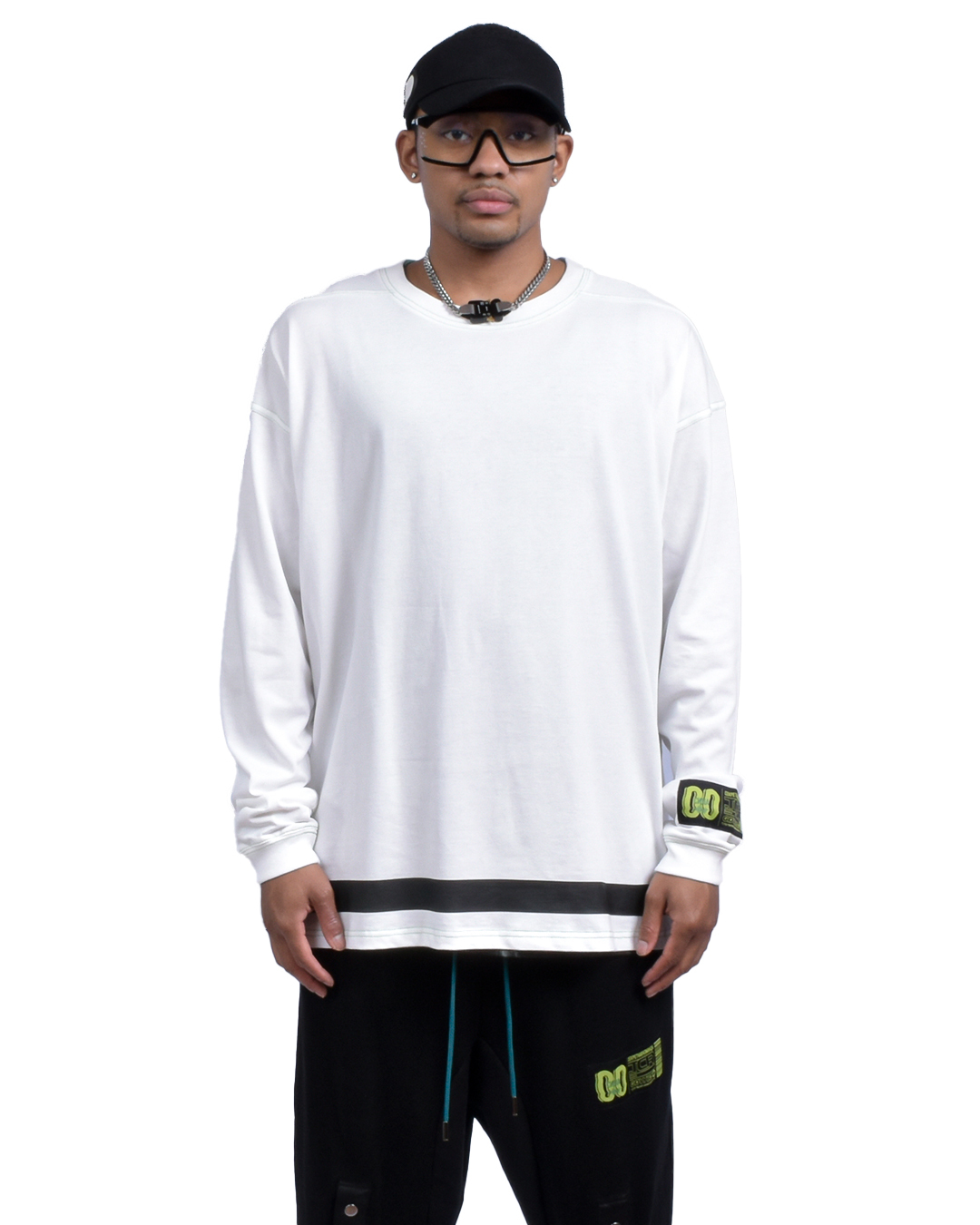 OVERSIZED TCR BASICALLY L/S TEE - WHITE/GREEN
