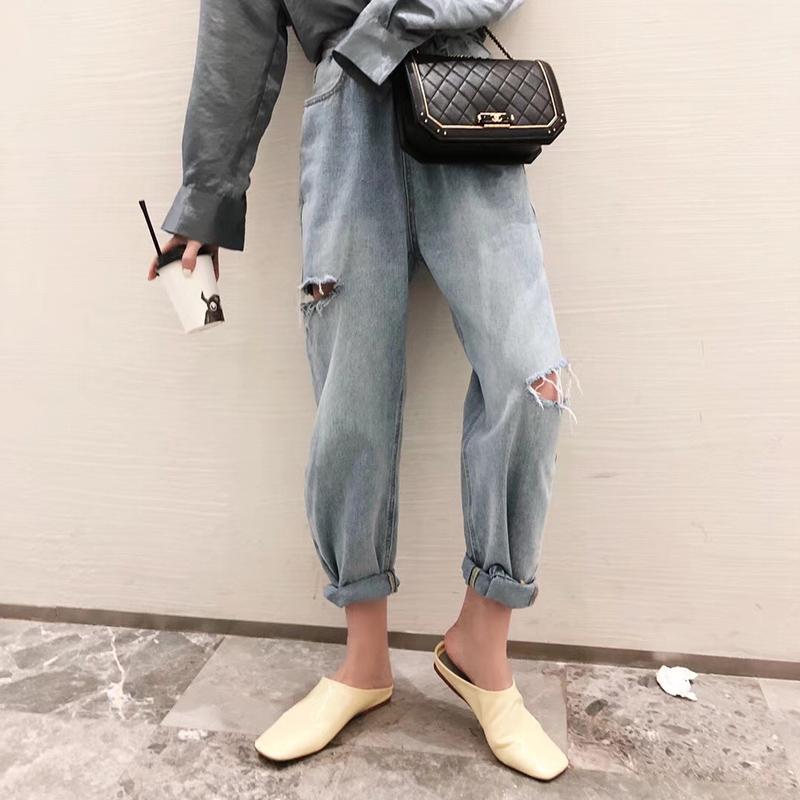 「ボトムス」韓国ファッションダメージ加工カジュアル個性アンクルデニムパンツ