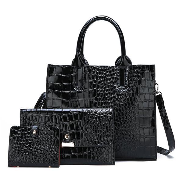 3点セット 高品質Puワニ革ハンドバッグ Black