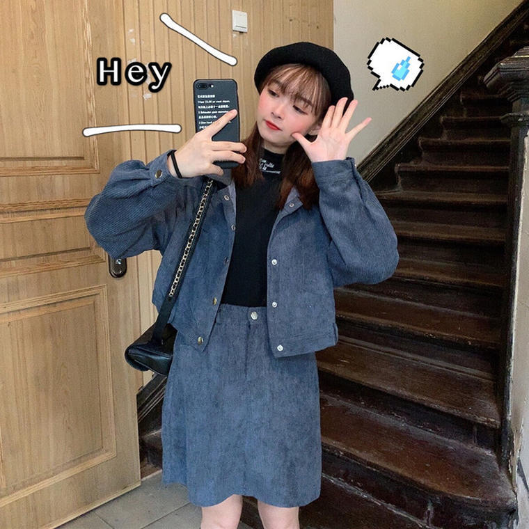 【送料無料】 今っぽコーデ♡ コーデュロイ セットアップ ショート丈 ジャケット × ハイウエスト ミニスカート