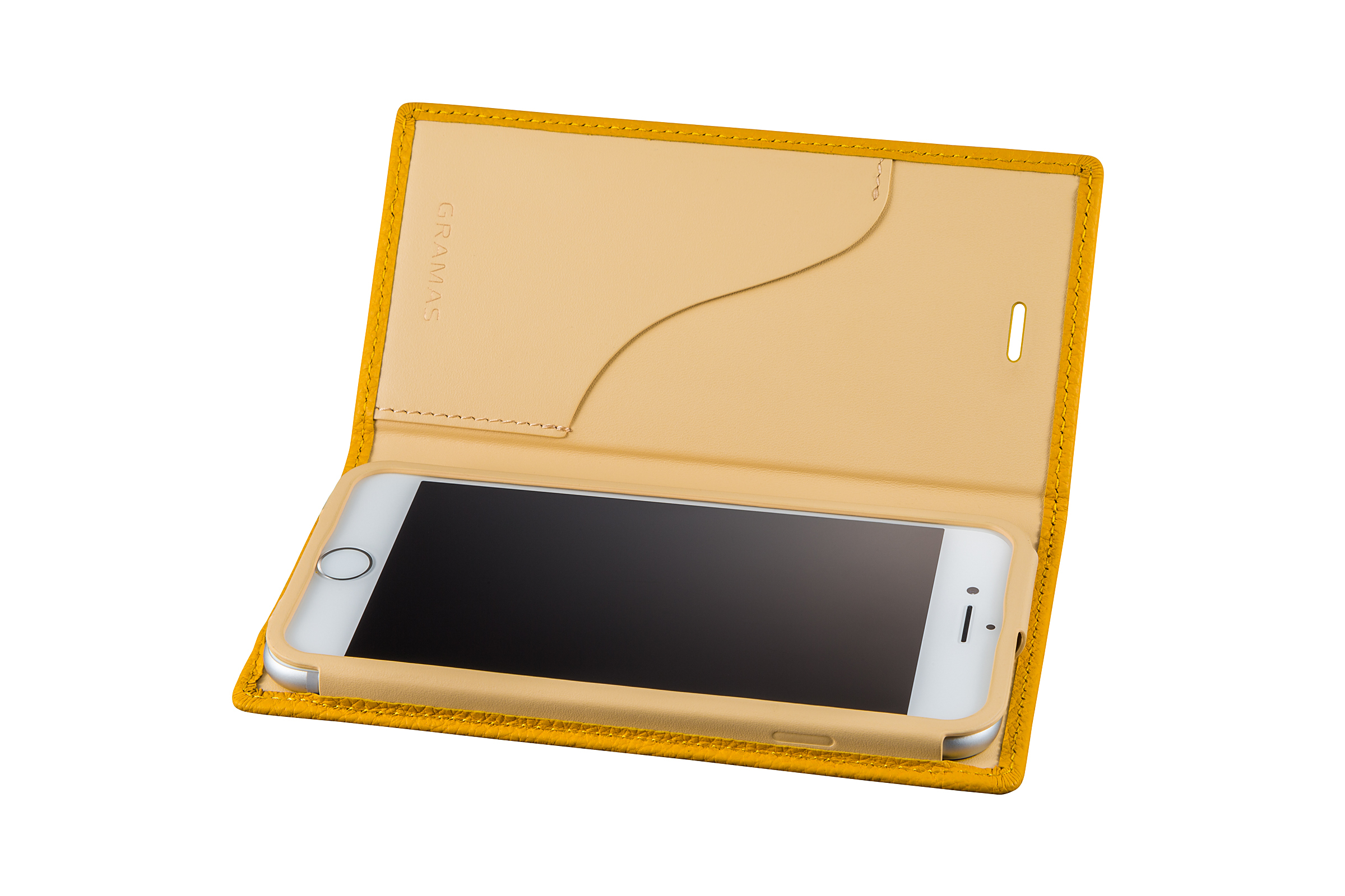 GRAMAS Shrunken-calf Full Leather Case for iPhone 7(Yellow) シュランケンカーフ 手帳型フルレザーケース - 画像3