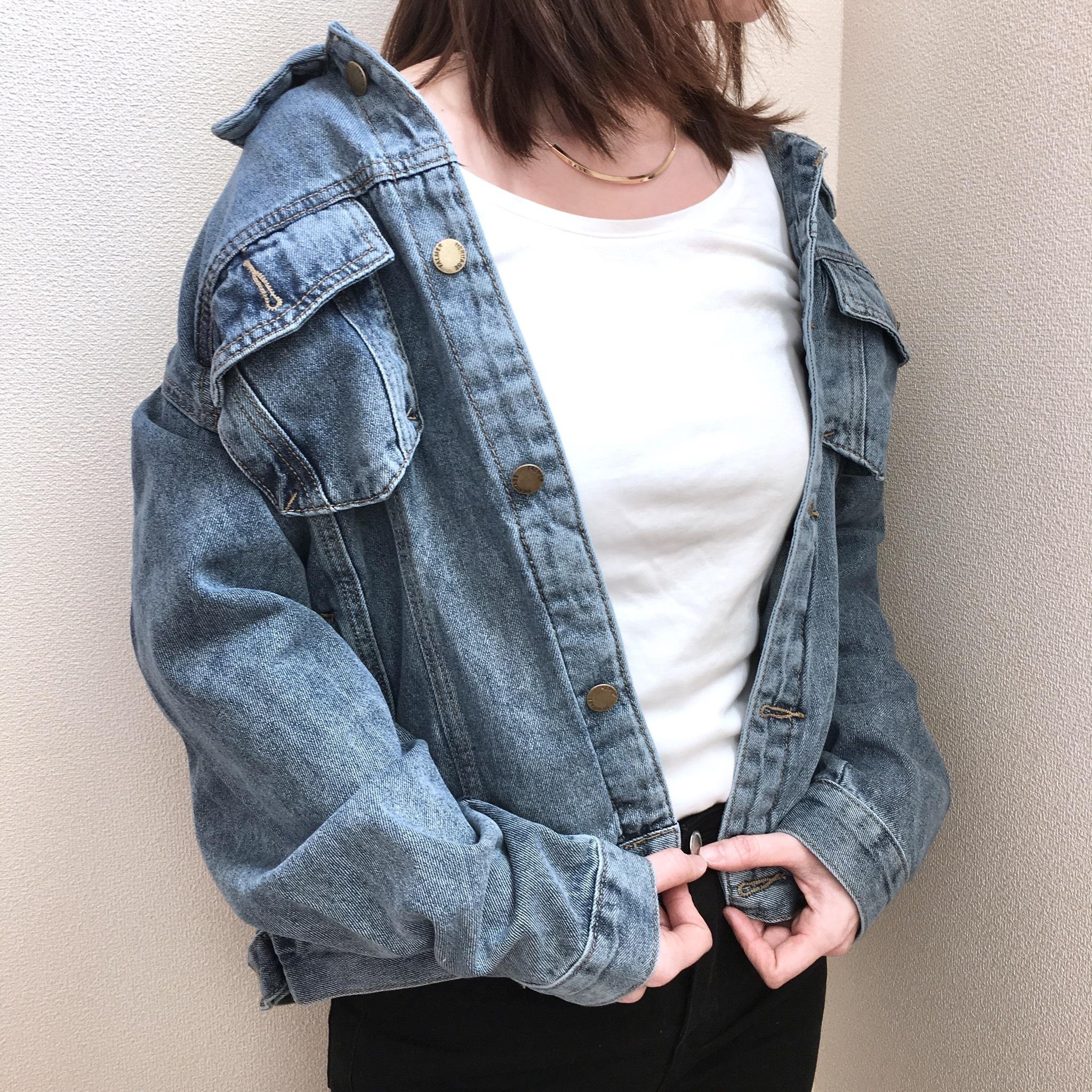 レディース ビッグシルエットデニムジャケット【L001】