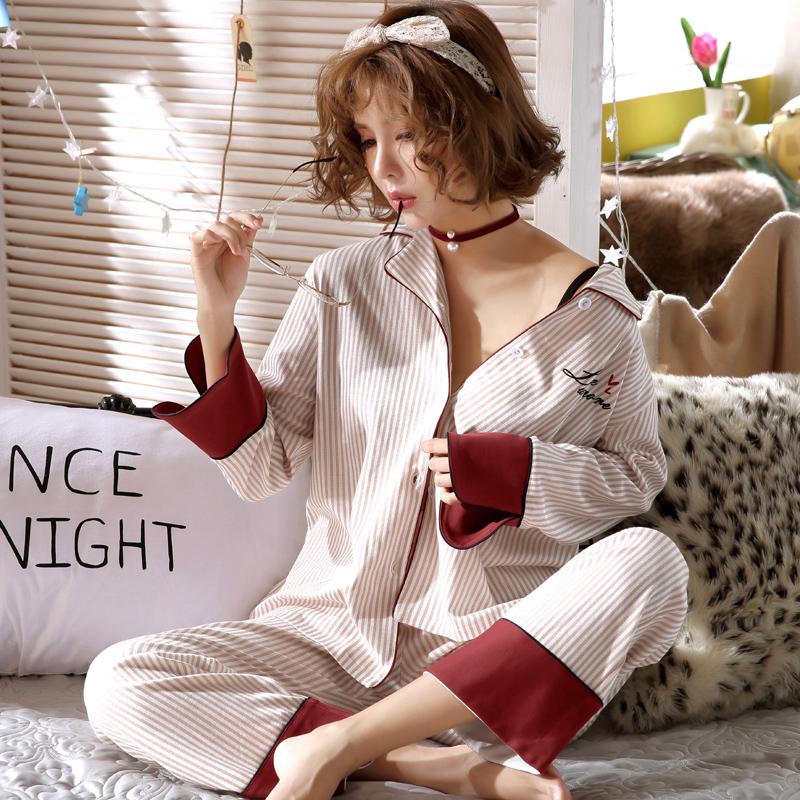 【パジャマ】2点セット長袖折り襟ストライプ柄折り襟スウィートパジャマ上下セット34333558