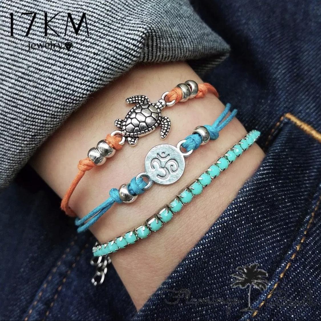 即納【FlamingoBeach】turtle bracelet set