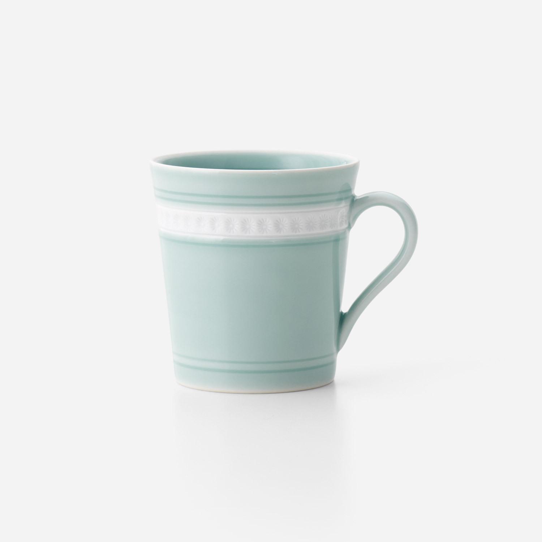 青磁印花 筒型マグカップ