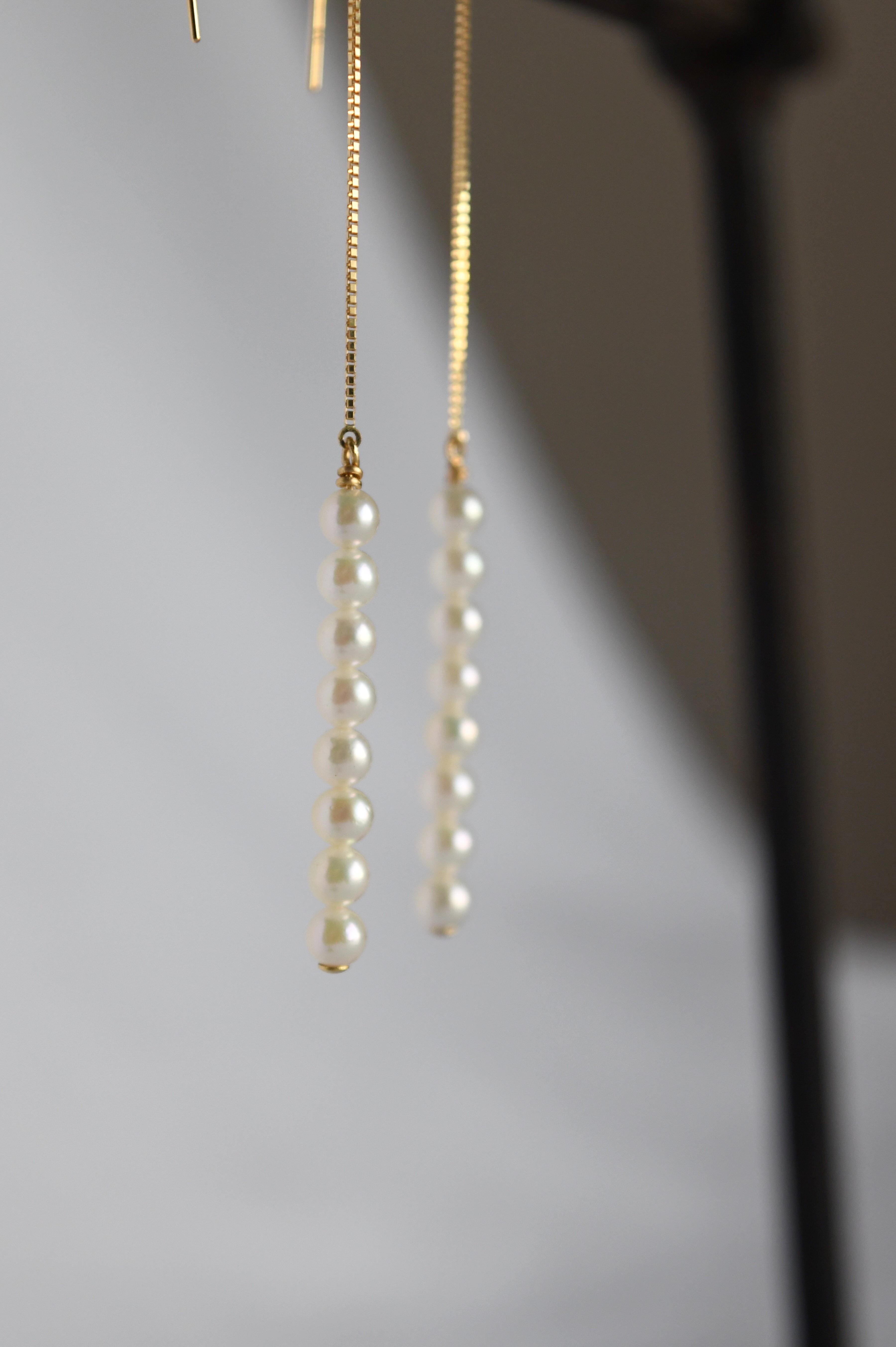 K18 Baby Akoya Pearl Long chain Earrings 18金ベビーアコヤ真珠ロングチェーンピアス