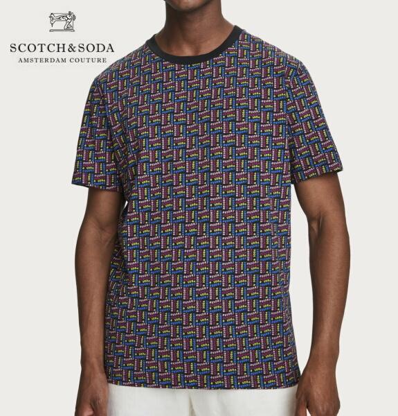 スコッチ&ソーダ SCOTCH&SODA 半袖 Tシャツ クルーネック プリント 総柄 Tシャツ 292-14417