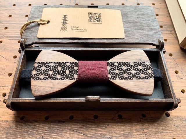 木の蝶ネクタイ #麻の葉×久留米絣 - 画像1