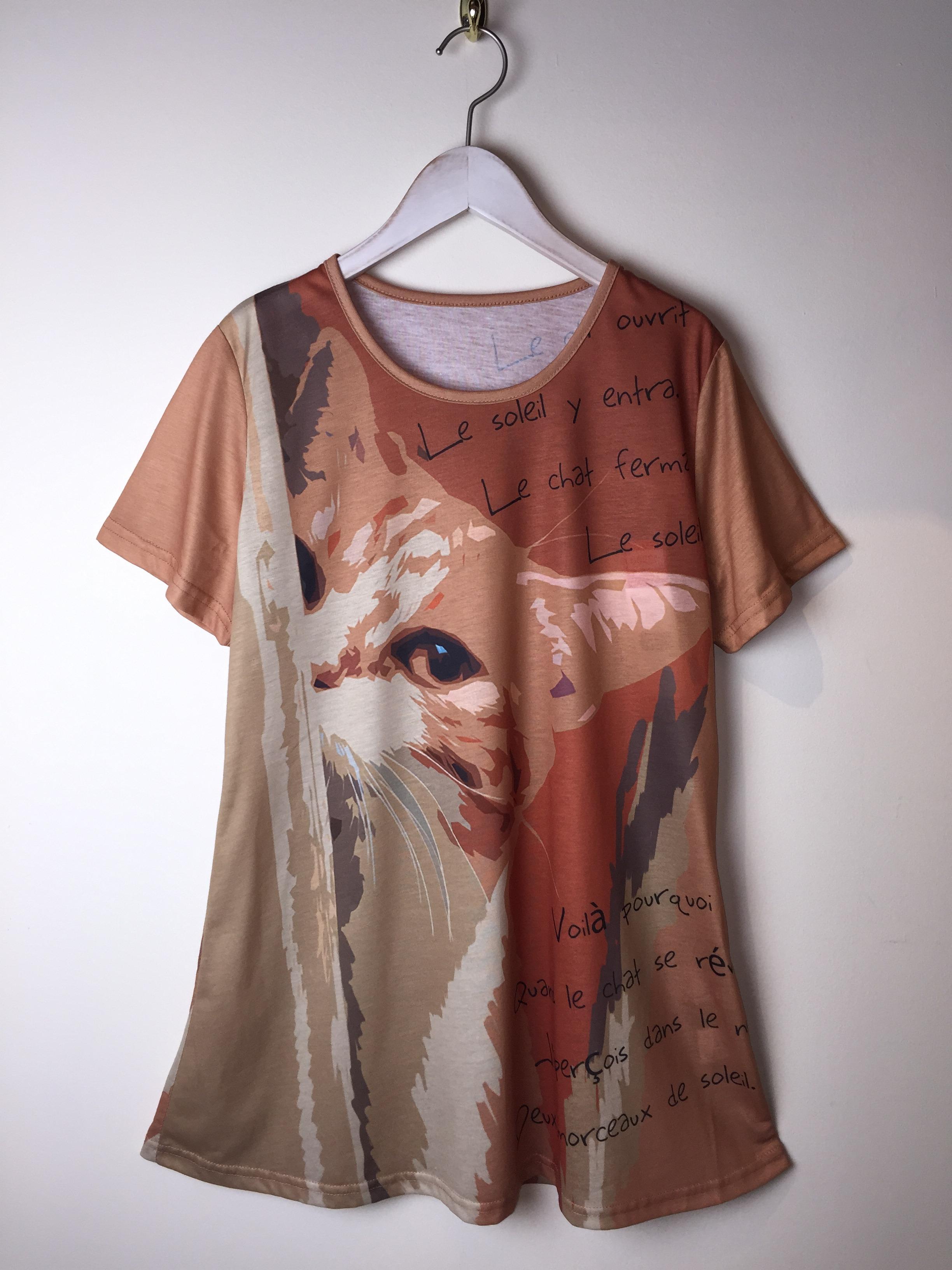【SALE】ネコT イラストTシャツ英字MIX 茶シロ M~L【40%OFF】