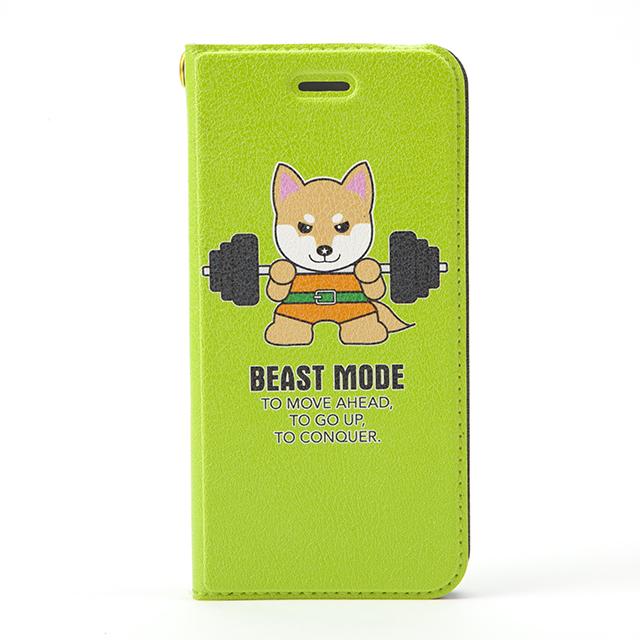 【BEASTMODE】 帯なし手帳型スマホケース バーベル柴犬