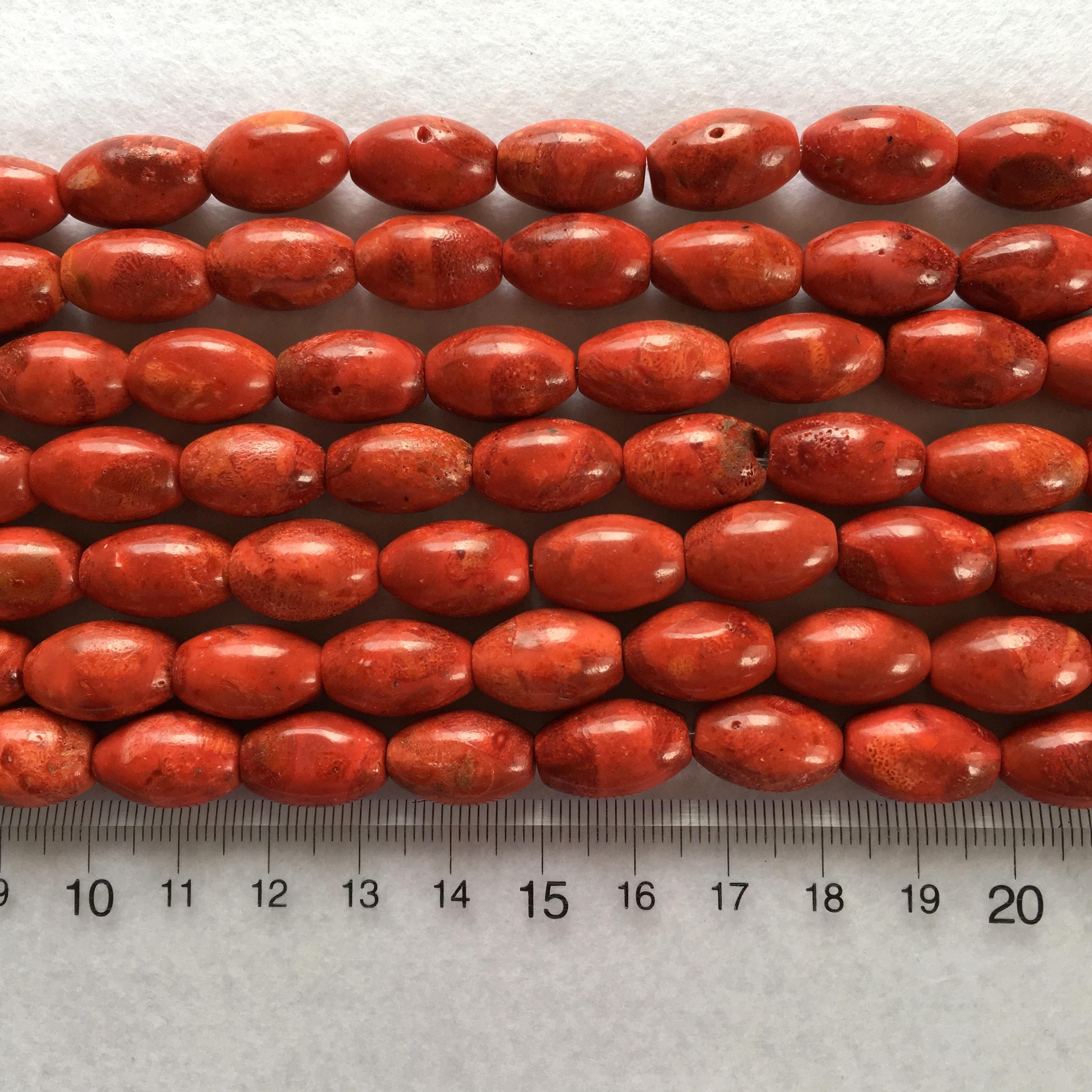 スポンジサンゴ バレル型 約16x10mm 連材【190160】