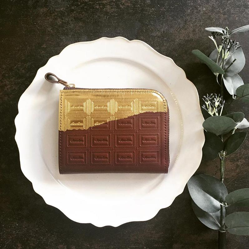 訳あり:革のチョコ ファスナーミニ財布 スイート(金の包み紙)