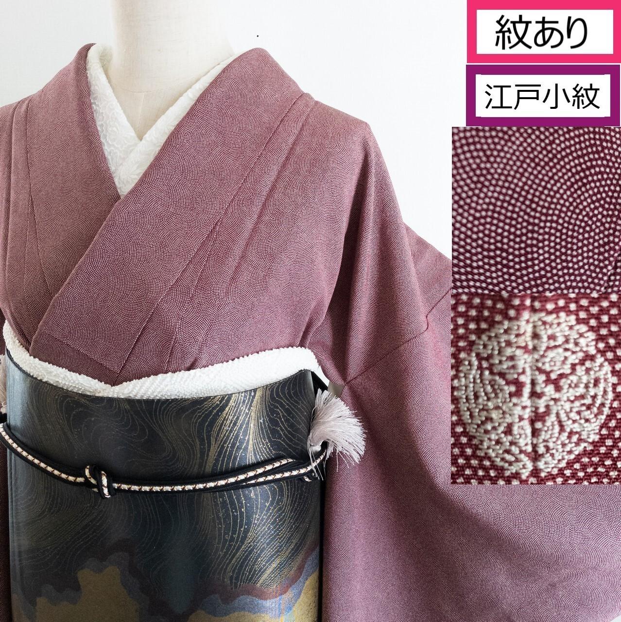 【刺繍紋】一つ紋 鮫小紋 袷 相良刺繍紋入り 小豆色 丈165裄66
