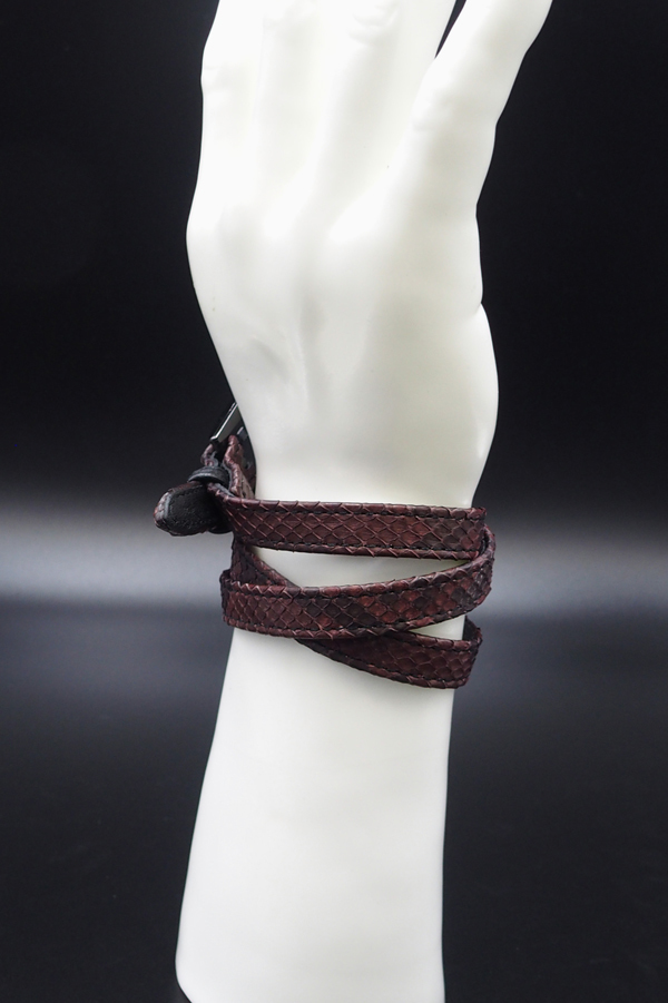 Item No.0299:Long Smooth Bracelet/Diamond Python《Russet》