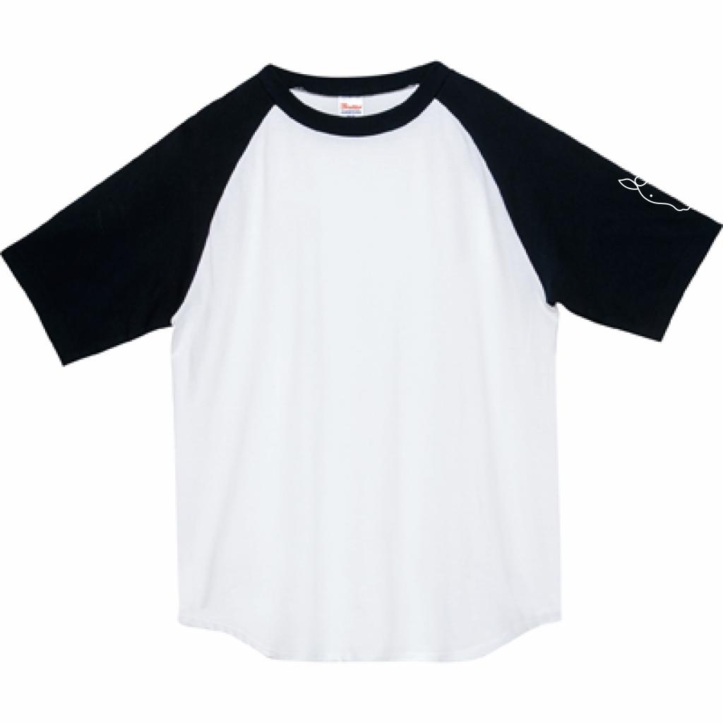 ウマ ラグランT(ブラック×ホワイト・受注生産)