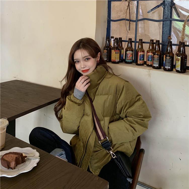 【送料無料】 トレンドジャケット♡ ハイネック スタンドカラー コーデュロイ ダウン ジャケット 中綿 ショート丈