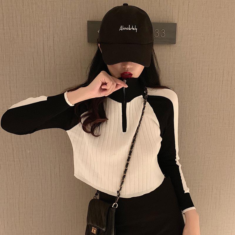 「トップス」ファッション配色スタンドネックミニ2色カコイイカジュアルセーター