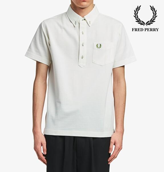 フレッドペリー ポロシャツ ボタンダウン メンズ Fred Perry B.D PIQUE SHIRT F1819 WHITE 正規販売店
