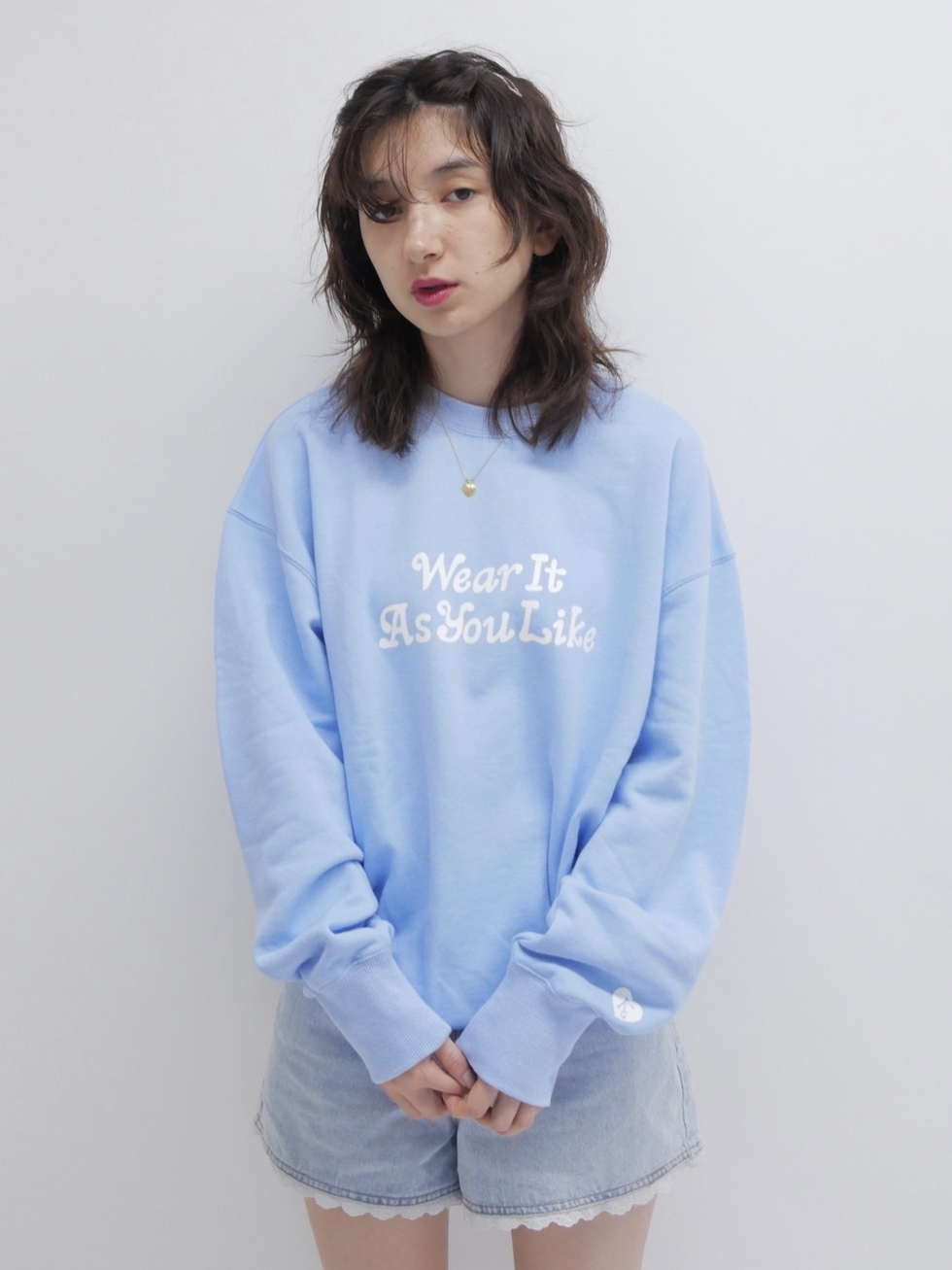 【KissMeLove】Light Blue KissMeLove sweat