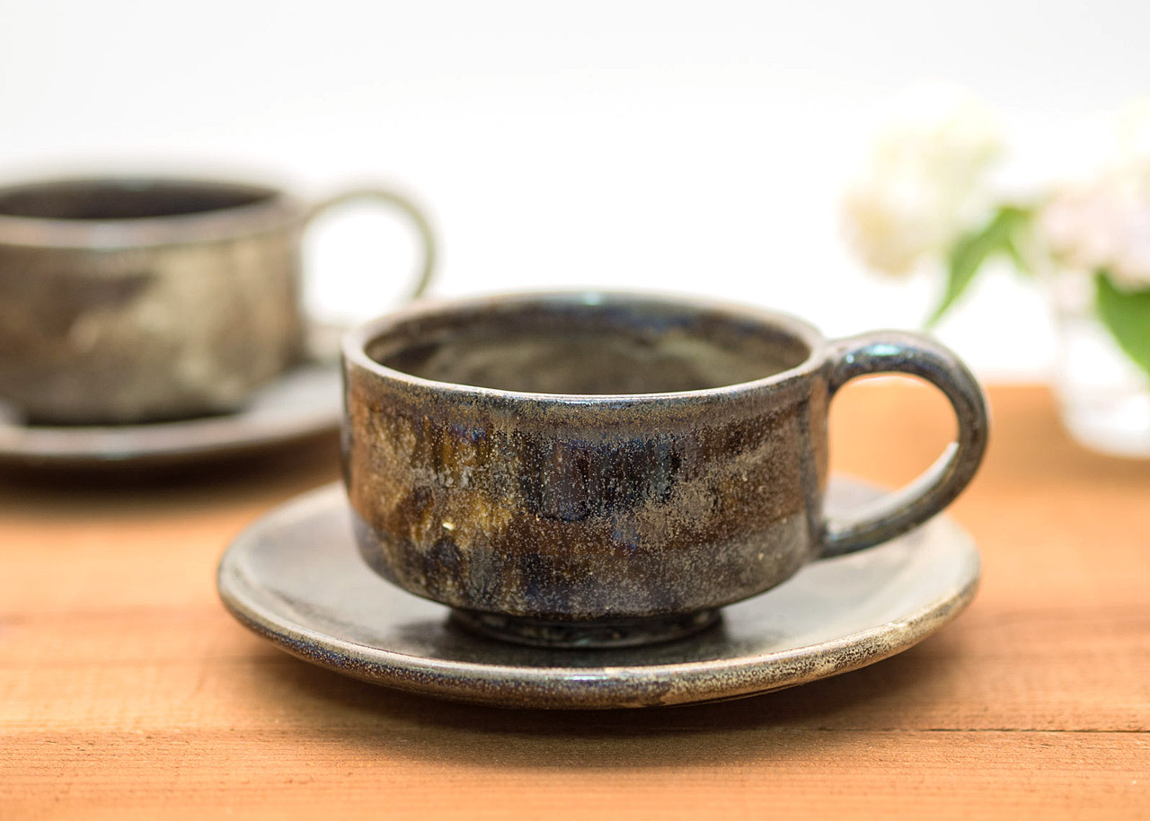 流し掛けコーヒーカップ&ソーサーC/鶴田季子