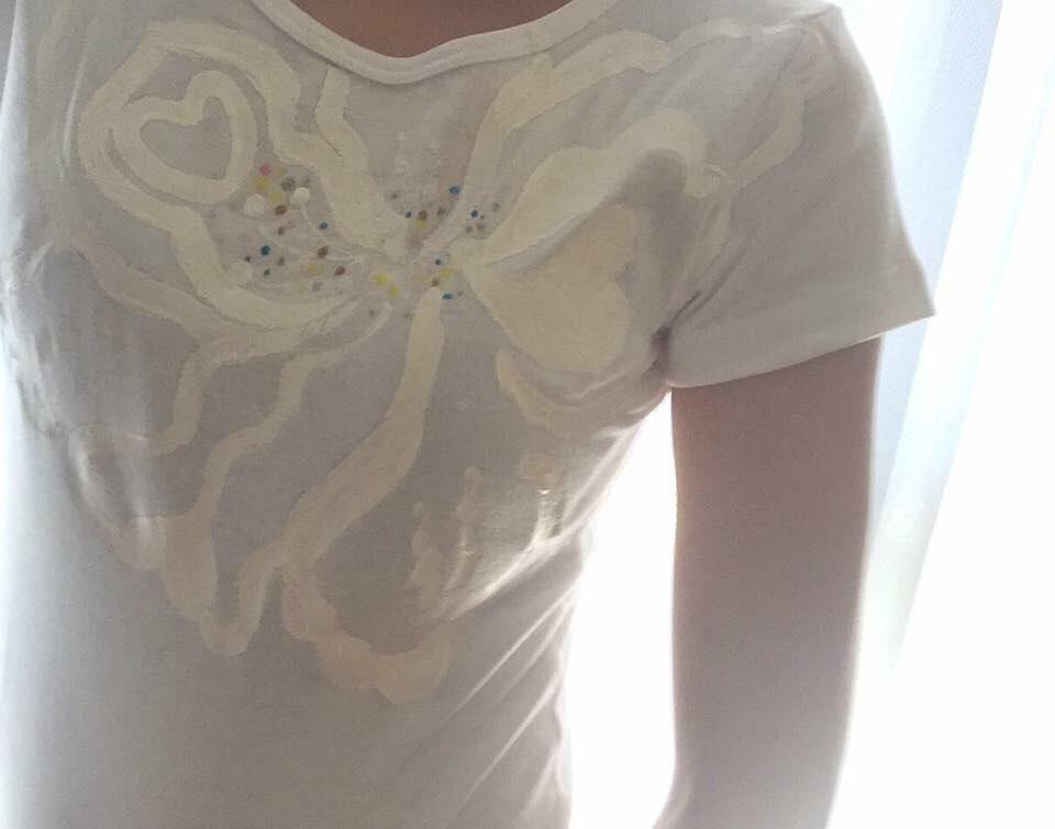 花シリーズ  ラブリーハイビ❤ホワイト 手描きTシャツ