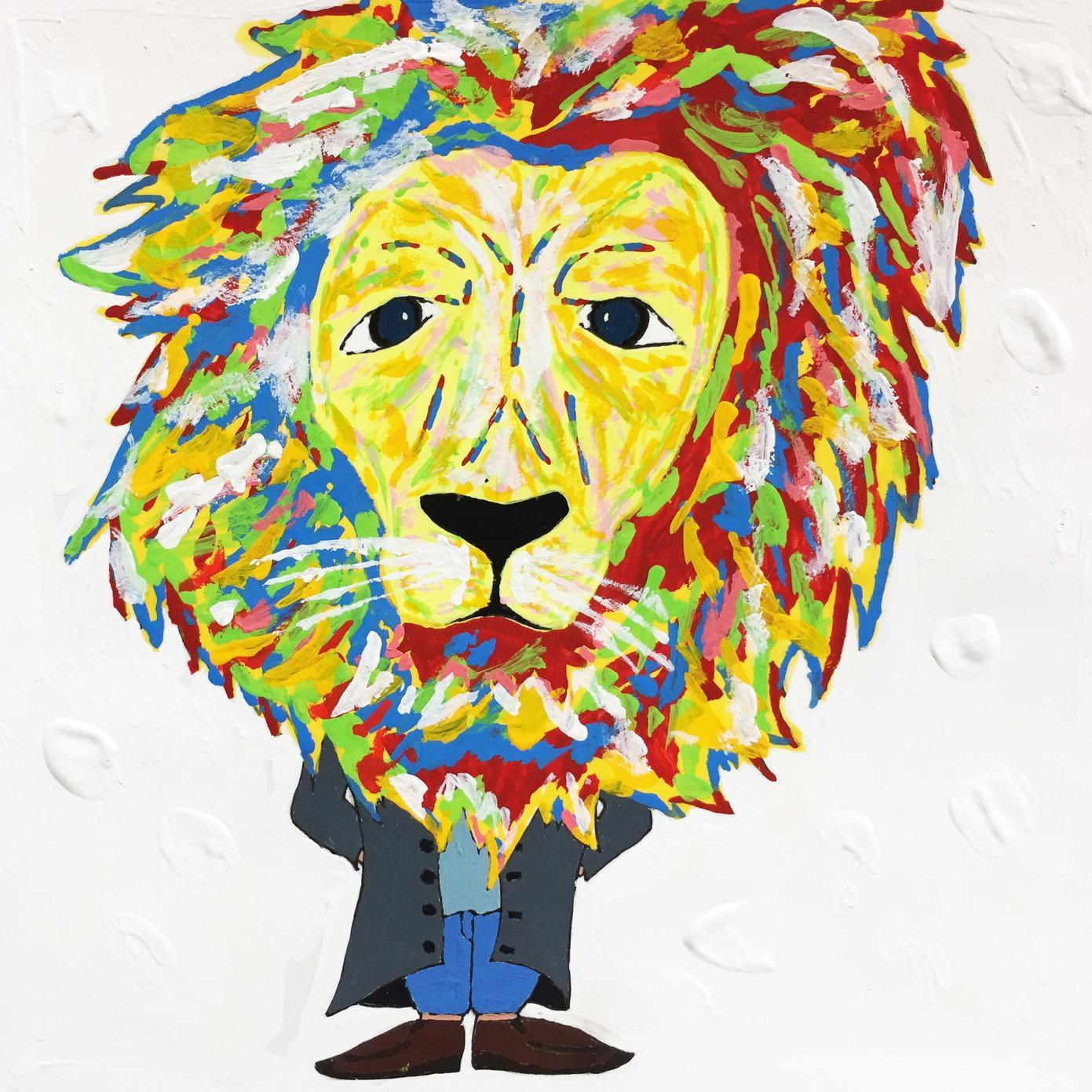 絵画 インテリア アートパネル 雑貨 壁掛け 置物 おしゃれ アクリル画 イラスト ライオン 動物 ロココロ 画家 : yuki 作品 : 威厳